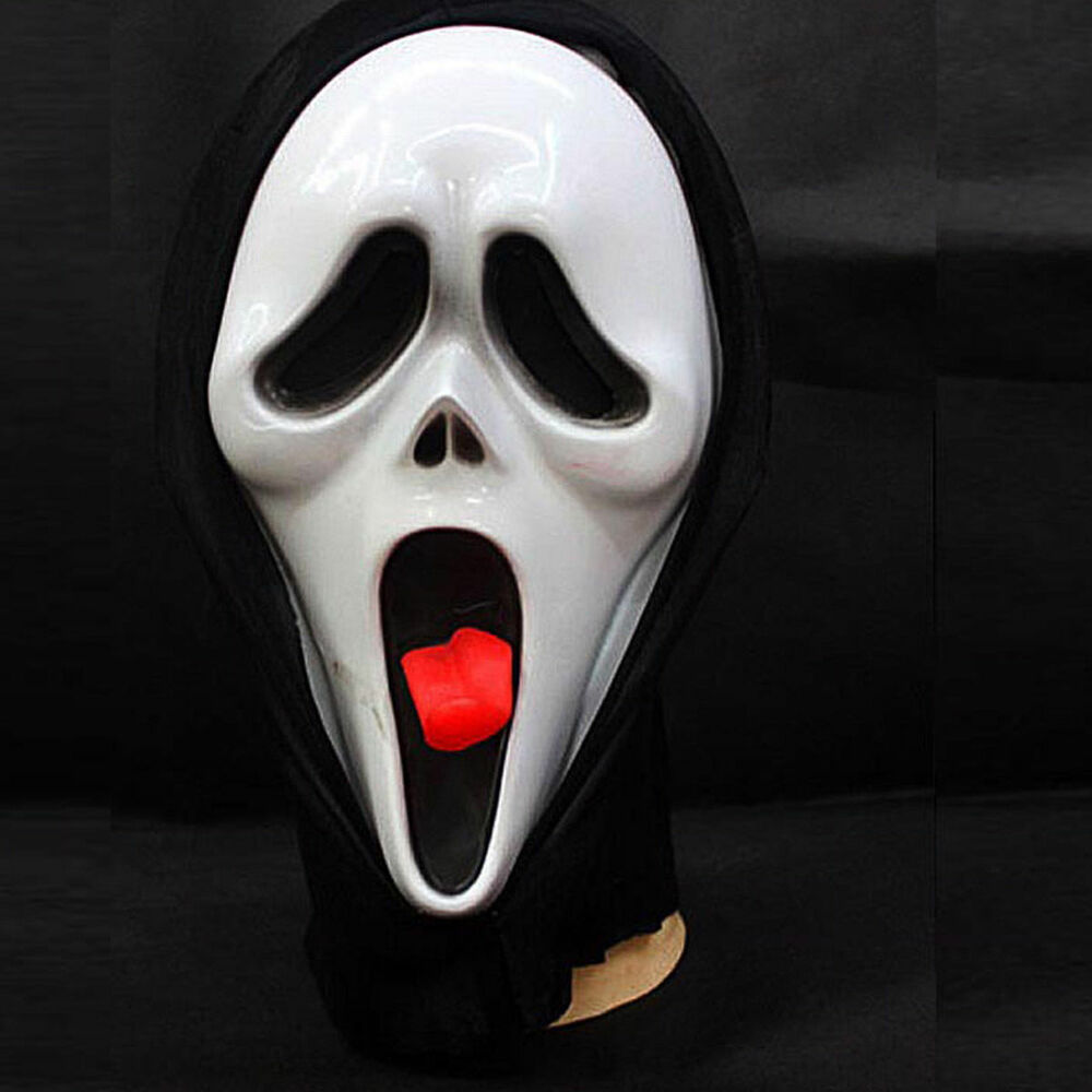 scary movie ghost face with tongue spoof scream mask for
