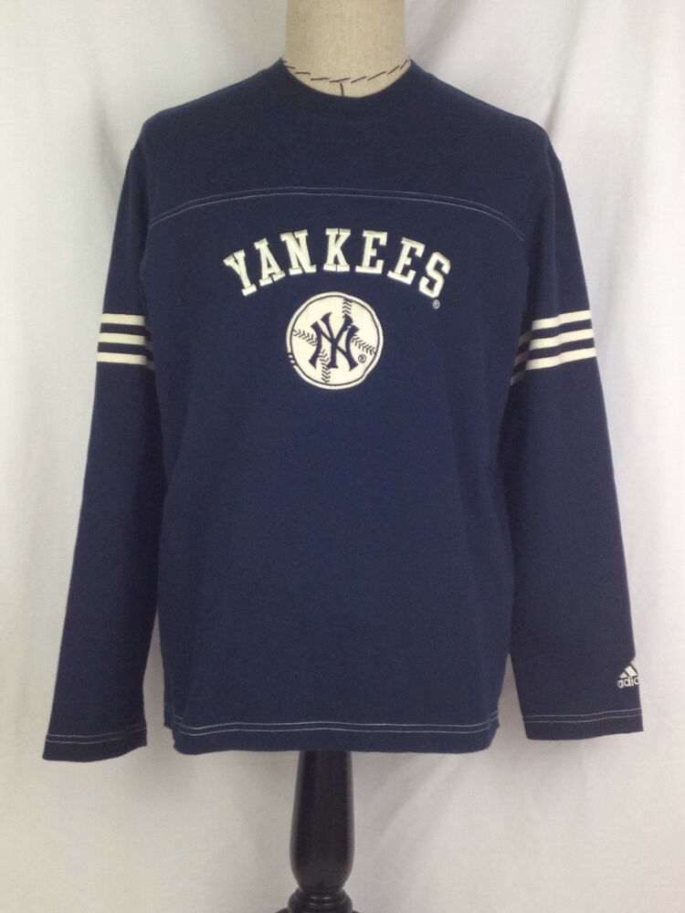 New york yankees shirt mens l size blue white baseball for Blue and white long sleeve shirt