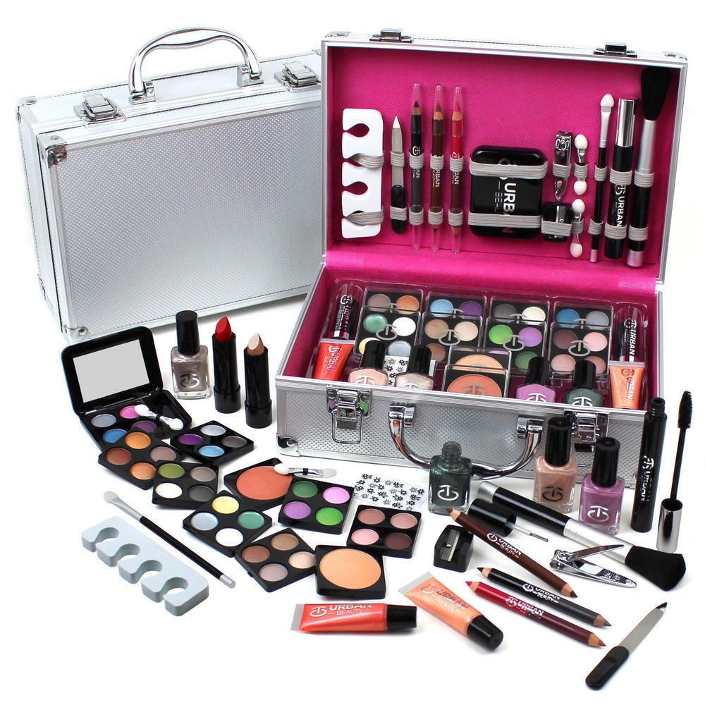 60 piece makeup vanity case cosmetic set make up beauty storage box gift xmas ebay. Black Bedroom Furniture Sets. Home Design Ideas
