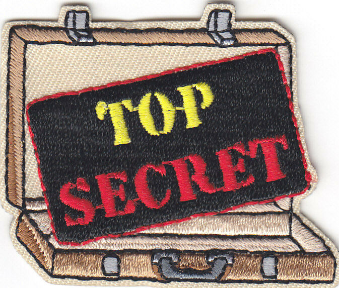 Quot top secret patch iron on embroidered applique