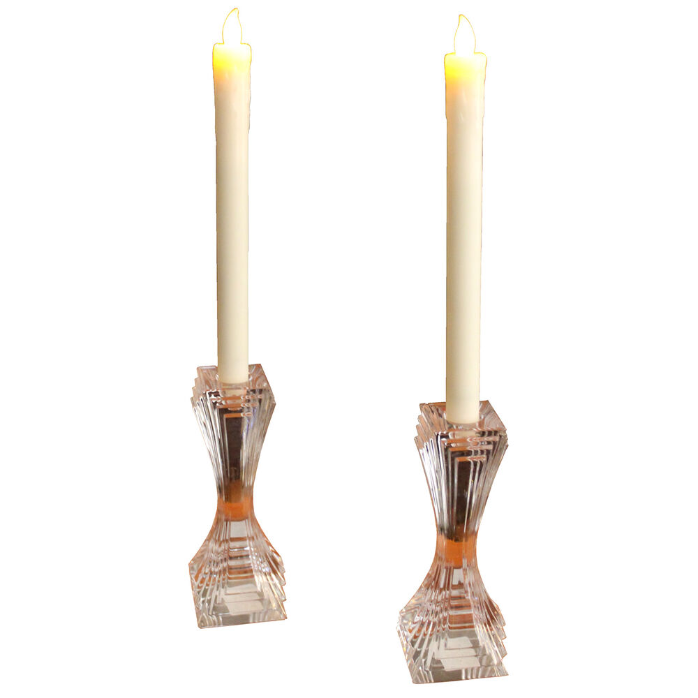 2 battery operated led tapered candles w flickering light. Black Bedroom Furniture Sets. Home Design Ideas