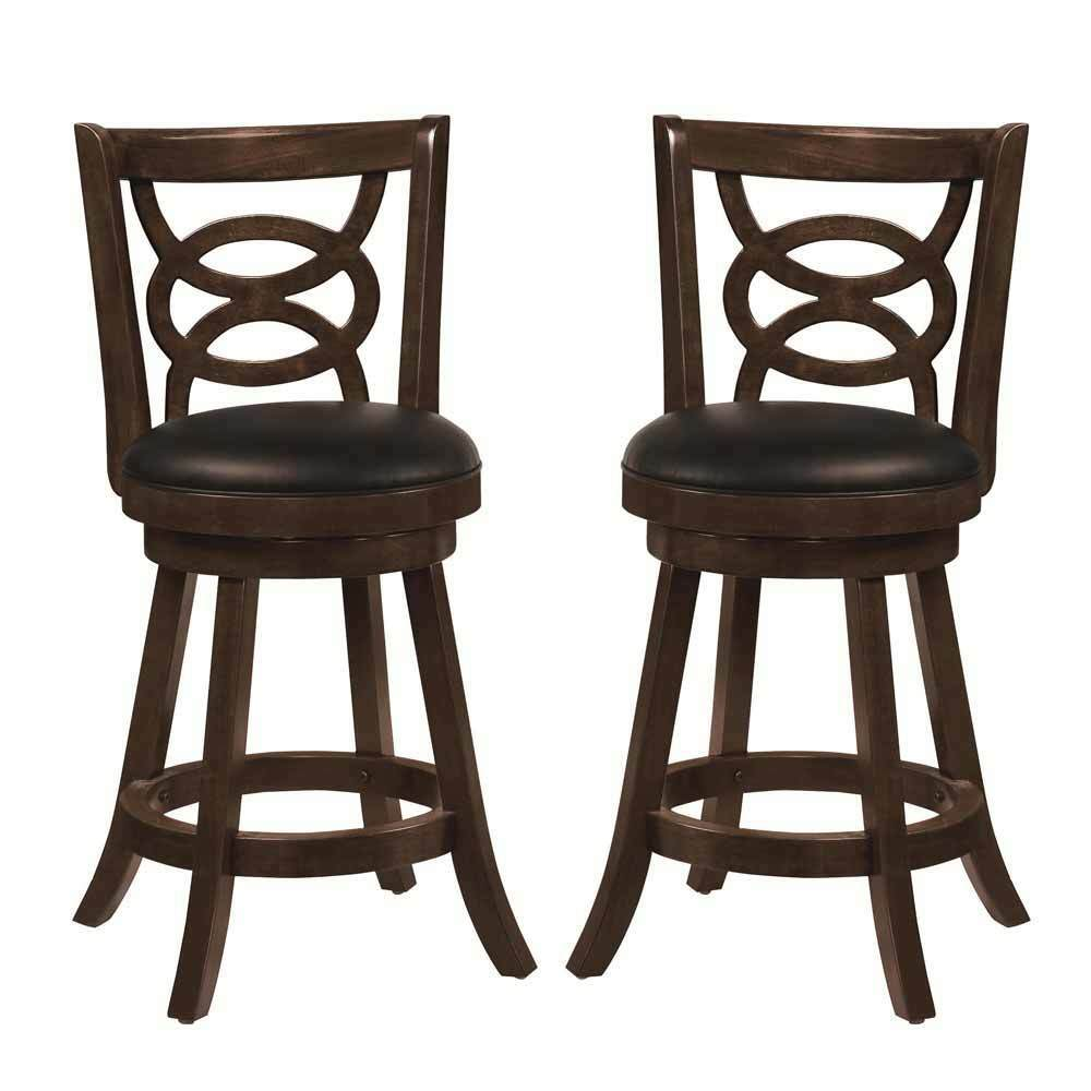 2 Pcs Swivel Wood Dining Chairs 24 Quot H Counter Stool