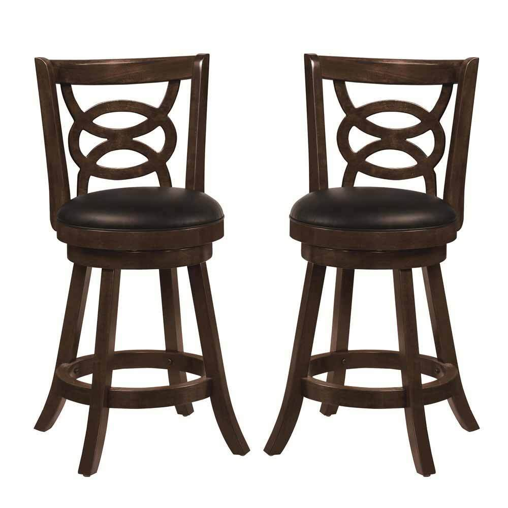 2 pcs swivel wood dining chairs 24 h counter stool Counter seating