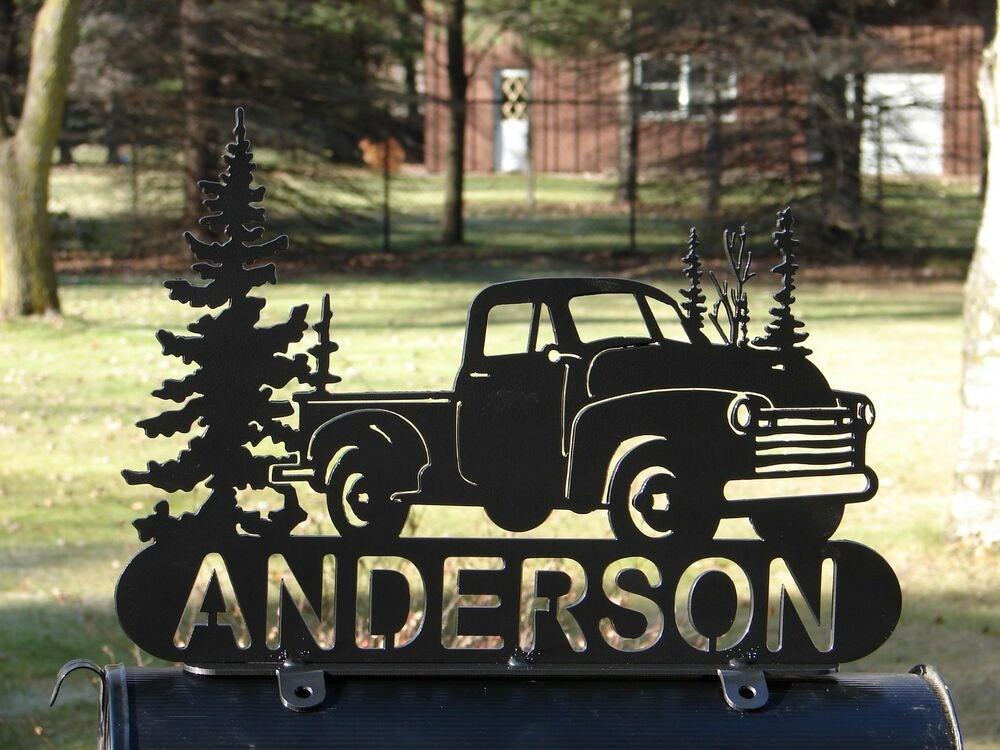 Vintage Pick Up Truck Mailbox Topper Address Plaque