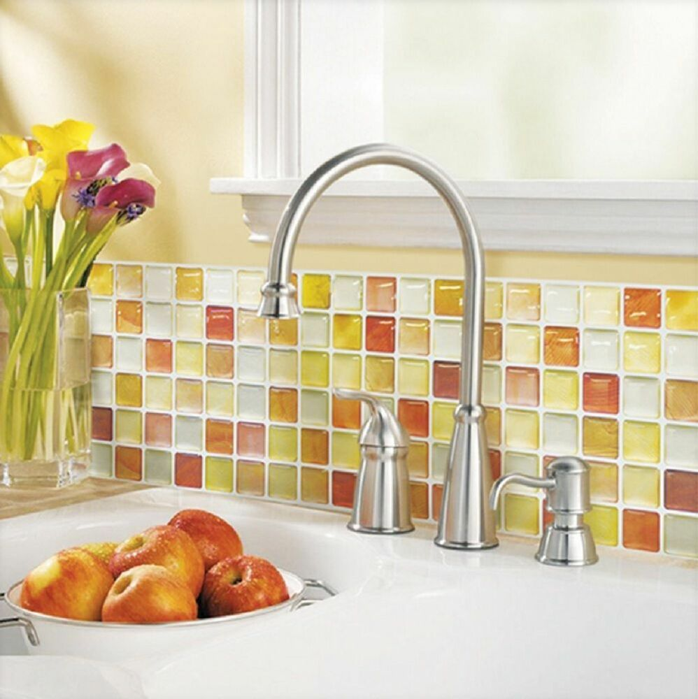 Home Bathroom Kitchen Wall Decor 3D Sticker Wallpaper Art Tile Orange Backsplash
