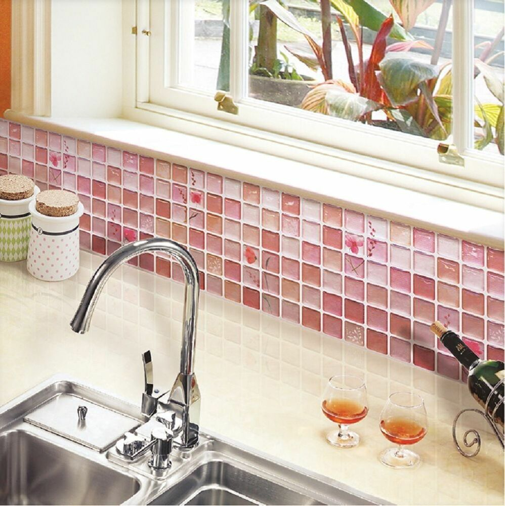 Home Bathroom Kitchen Wall Decor Stickers Peel And Stick 2 Sheets Red Backsplash 8804219003348