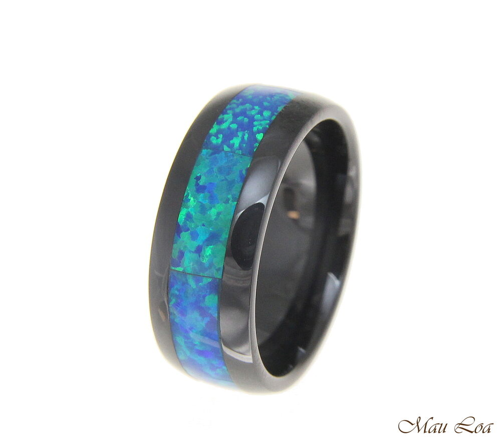 Silicone Wedding Band >> Black Ceramic 8mm Wedding Band Ring Blue Opal Inlay Comfort Fit Size 6-14 | eBay