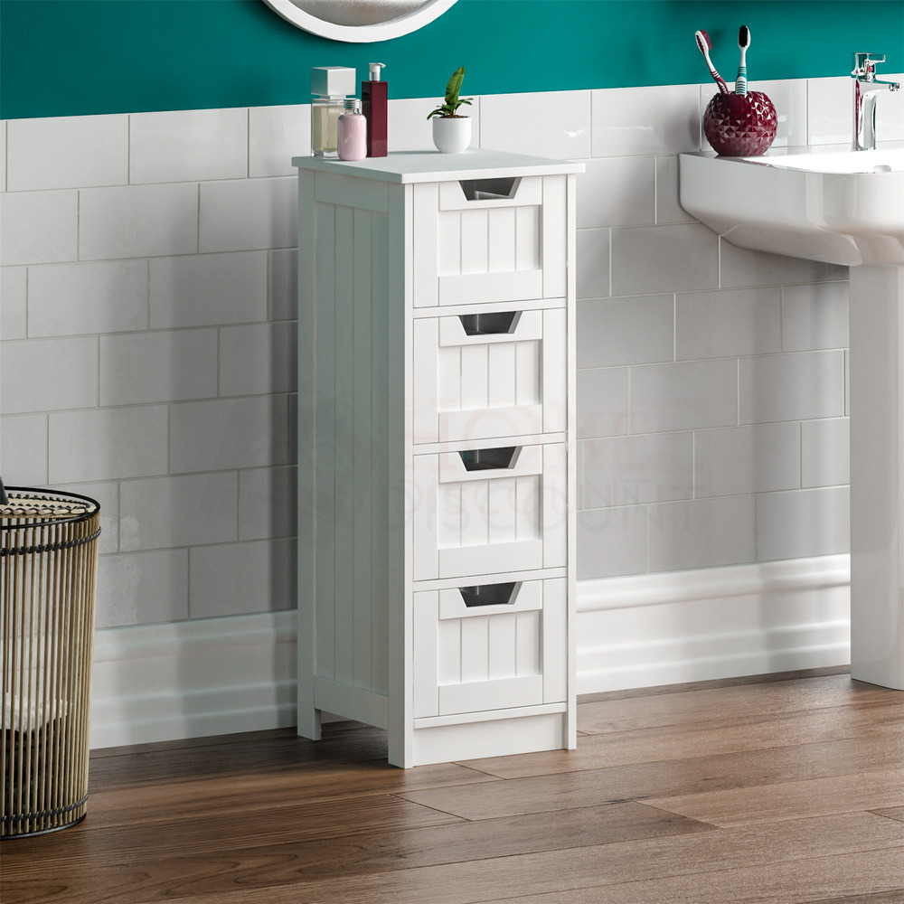 Bathroom 4 drawer cabinet storage cupboard wooden white unit by home discount ebay for Cheap bathroom storage cabinets