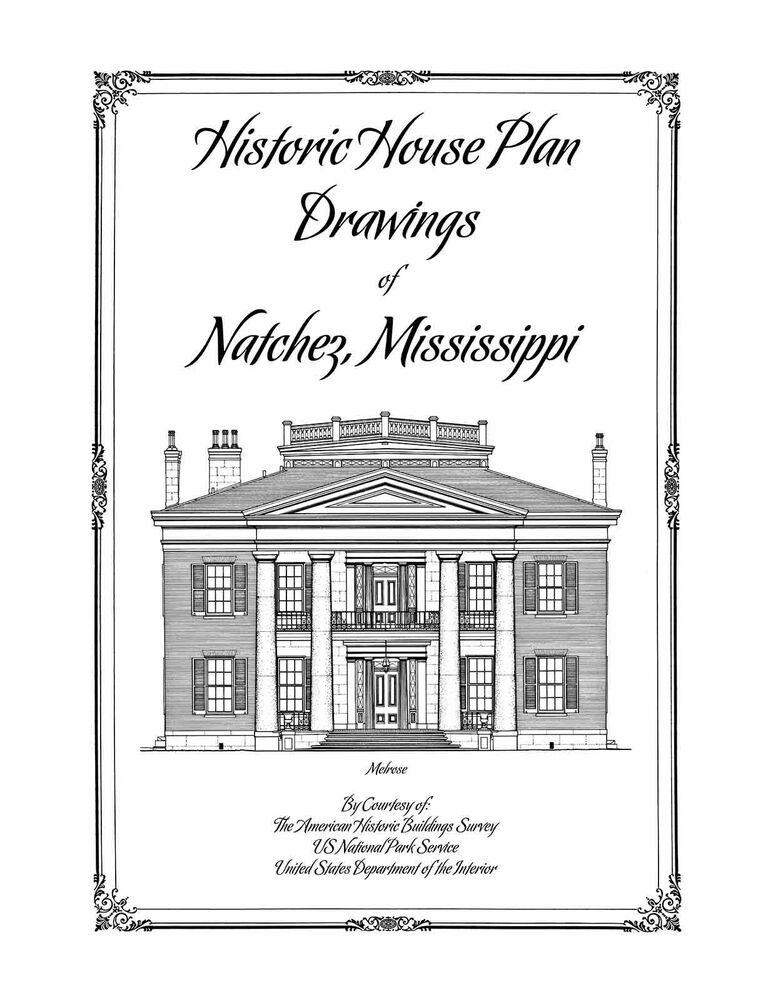 Historic house plan drawings of natchez mississippi ebay for House plans mississippi