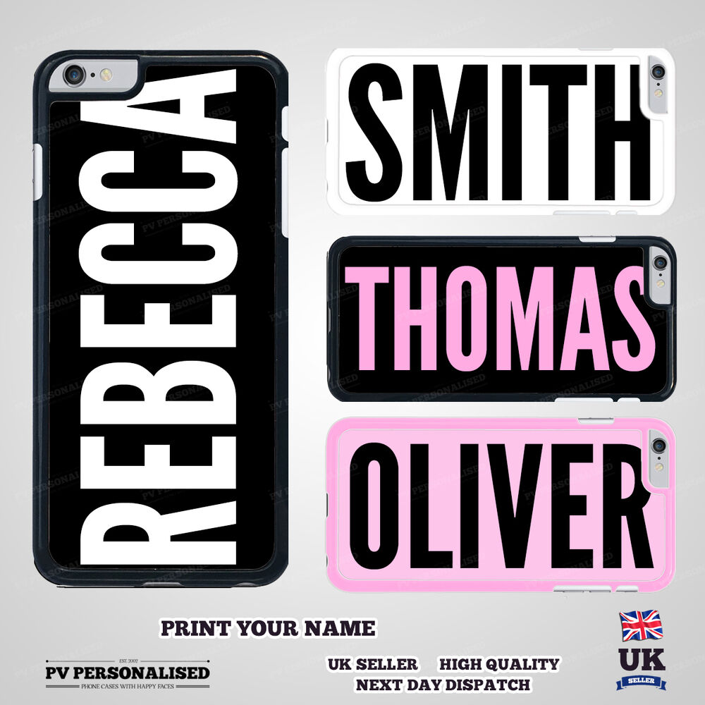 Personalised Custom Printed YOUR NAME CASE Hard Cover for iPhone ...
