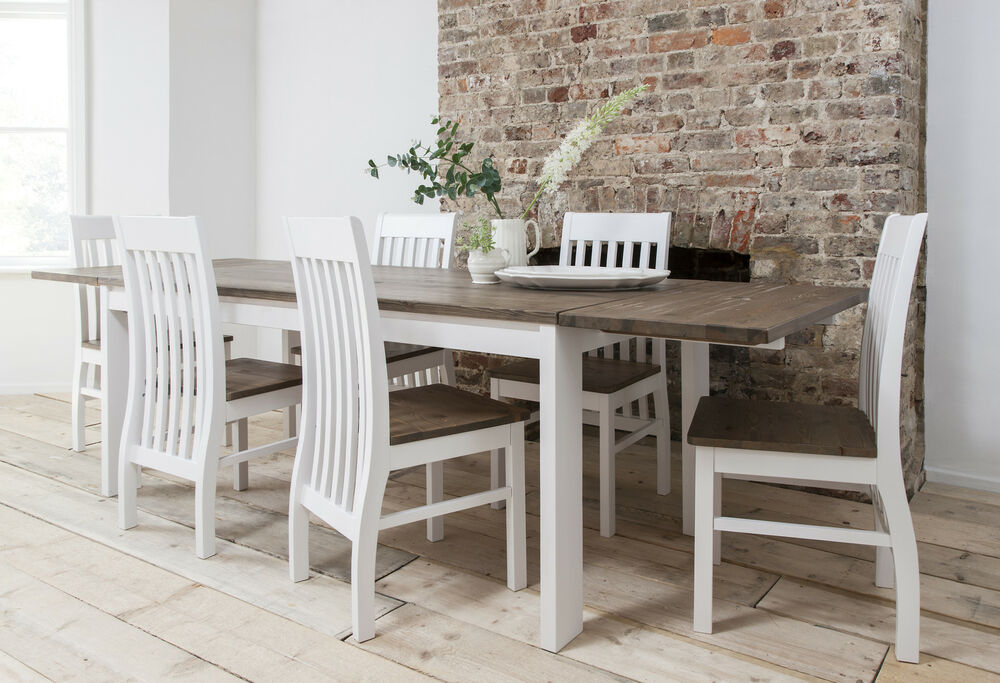 Beau Dining Table And Chairs Dining Set Dark Pine U0026 White With Extending Table  Hever | EBay