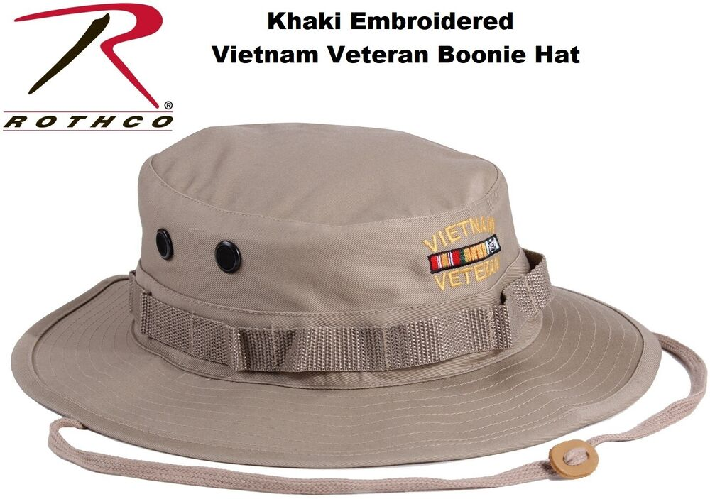 832f14a0d78 Details about Khaki Military Style Wide Brim Vietnam Veteran Boonie Hat  With Embroidered 55938