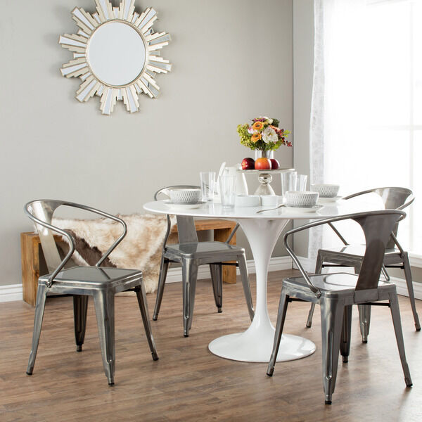 Metal Kitchen Chairs: Set Of 4 Metal Stacking Chairs Modern Dark SILVER Dining