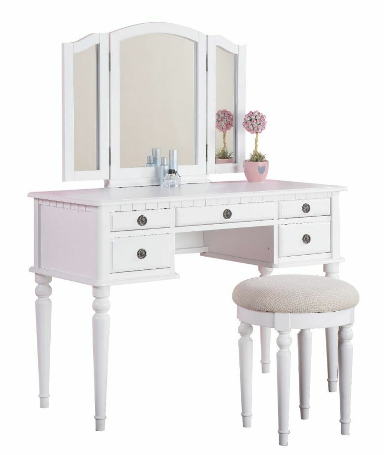 Vanity Set For Girls Table Stool Chair 3 Mirror Kids Bedroom Makeup Drawer Wh