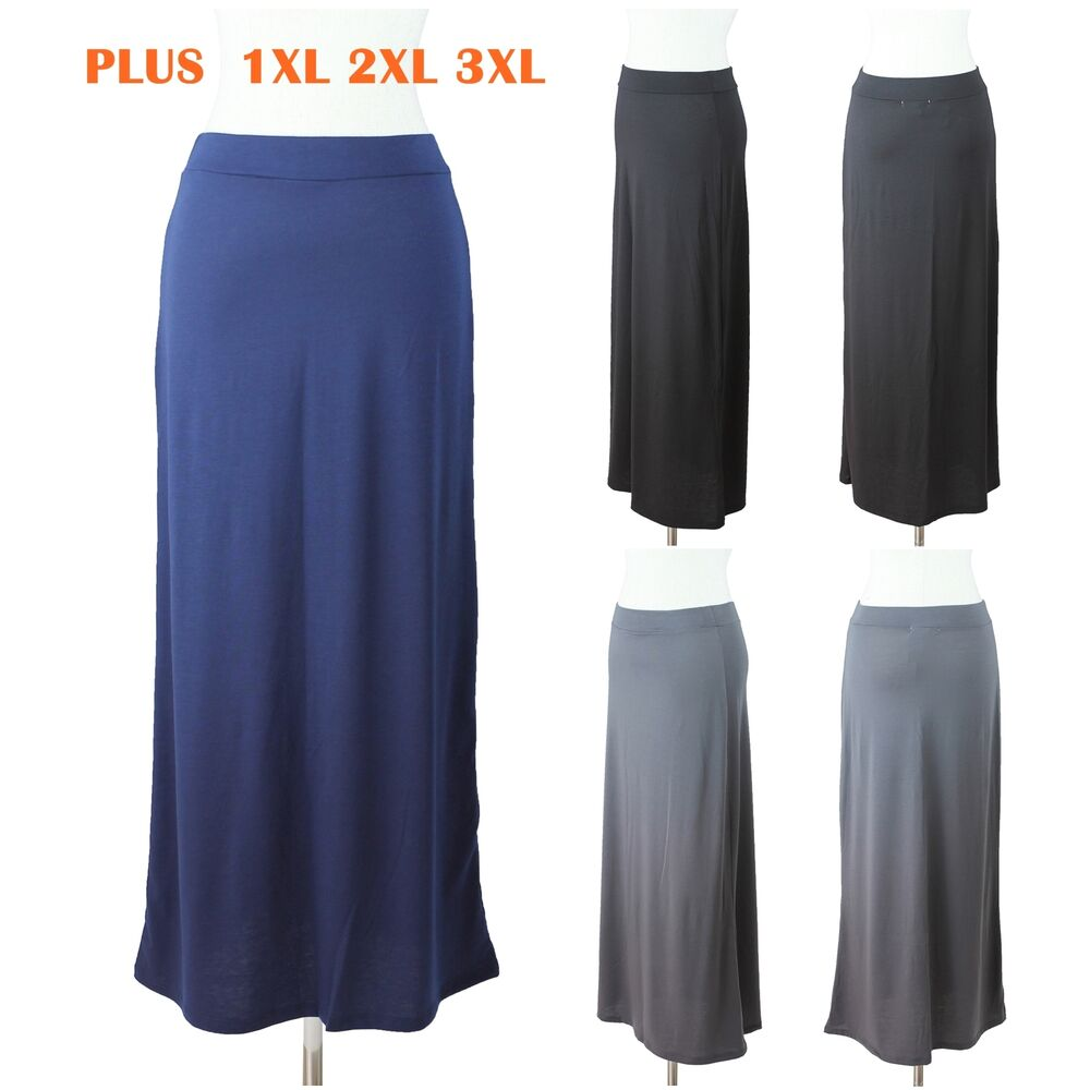Womens Plus Size Maxi Long Skirt Solid Plain Casual