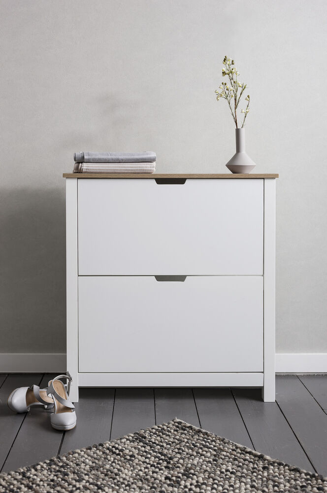 shoe storage cabinet cupboard with 2 drawers tromso in. Black Bedroom Furniture Sets. Home Design Ideas