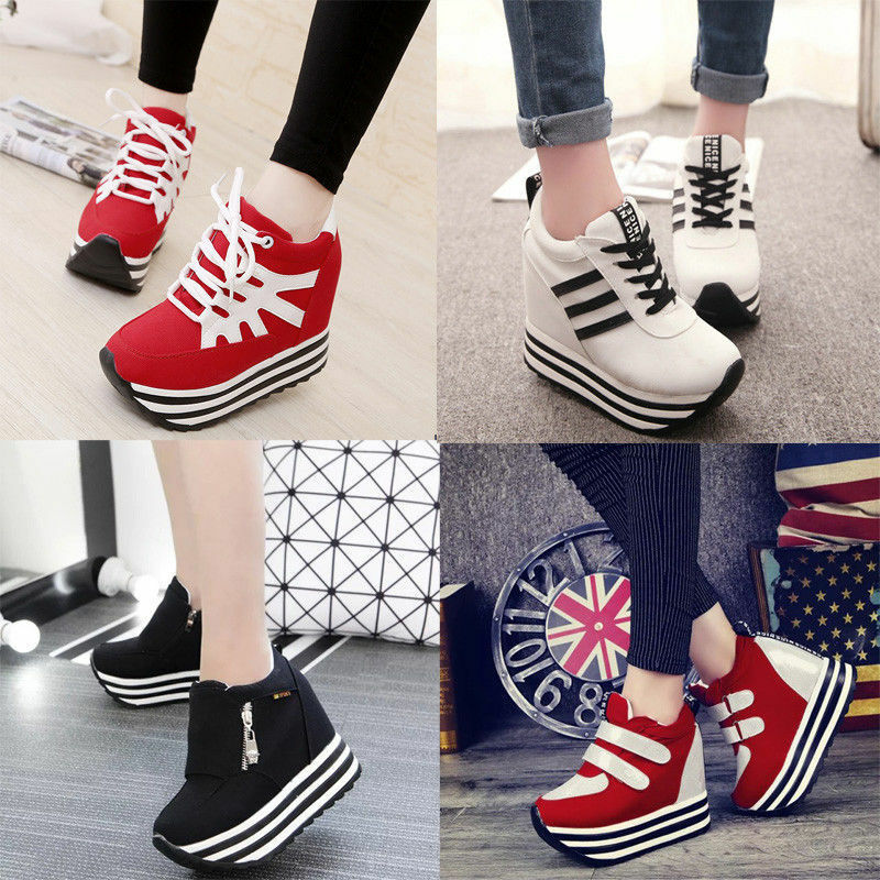 New Womens/Students Lace Up High Platform Wedge Sneakers ...