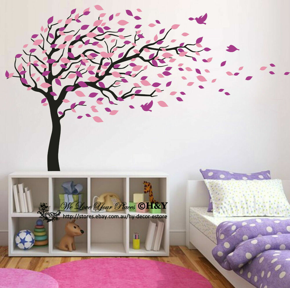 blowing tree birds wall stickers nursery decal baby kids art decor removable diy ebay. Black Bedroom Furniture Sets. Home Design Ideas