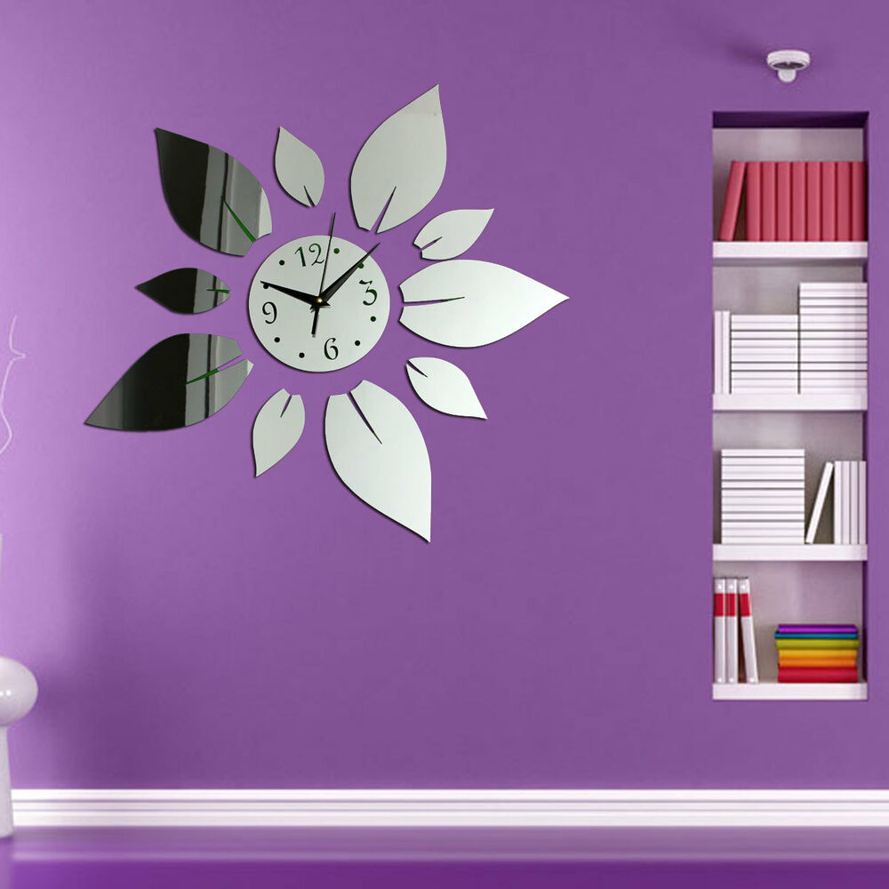 moderne wanduhr wandtattoo wohnzimmer wand uhr spiegel blumen design geschenk ebay. Black Bedroom Furniture Sets. Home Design Ideas