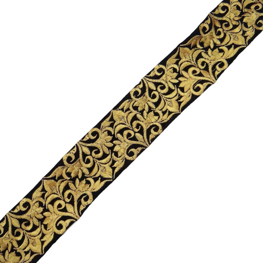 Floral embroidered trim craft black ribbon lace cm