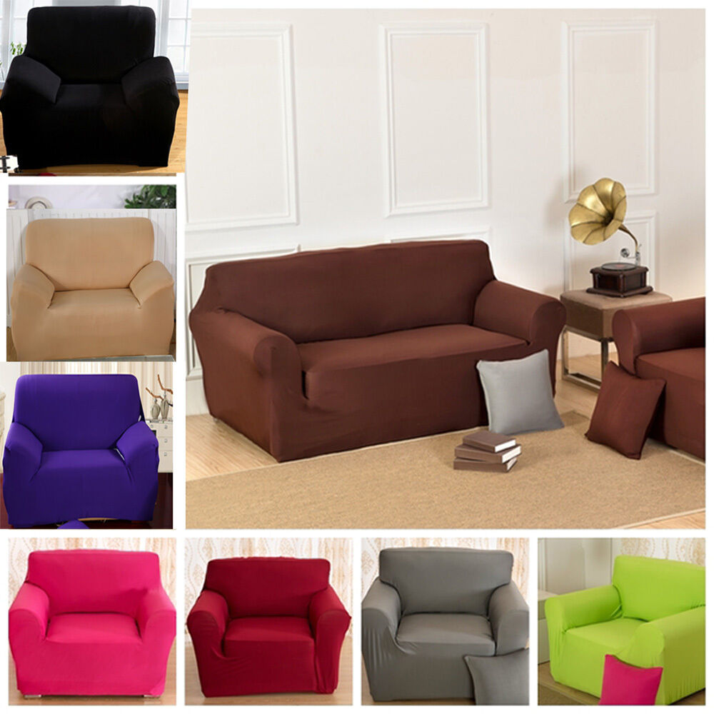 solid pure colour lounge couch stretch sofa cover 1 seater