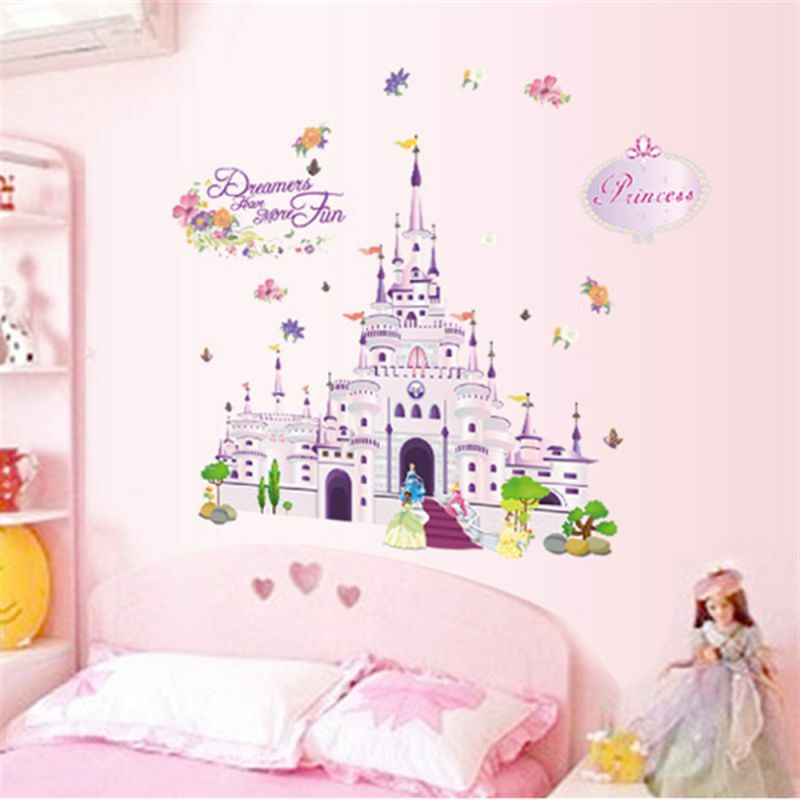 Kids bed room decor princess castle wall sticker wall for Castle kids room