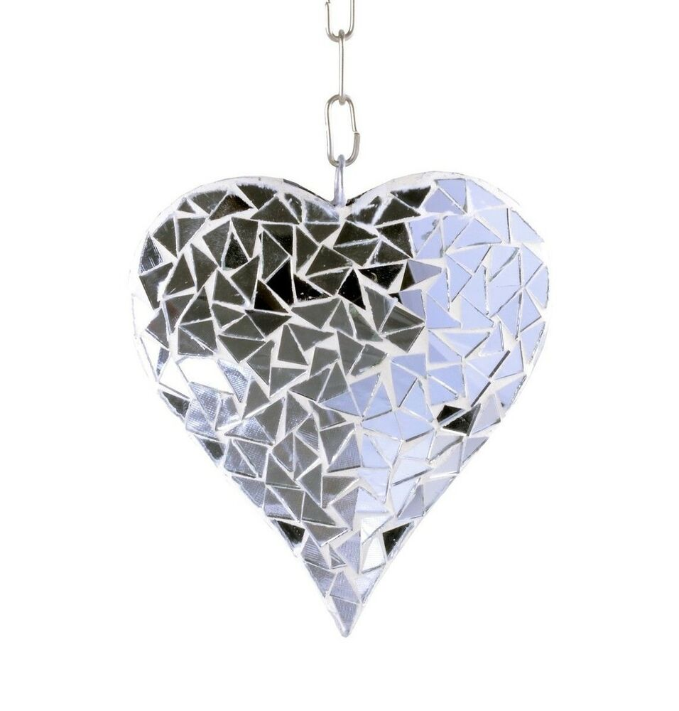 Silver mosaic glass hanging suncatcher heart mobile garden for Outdoor house ornaments