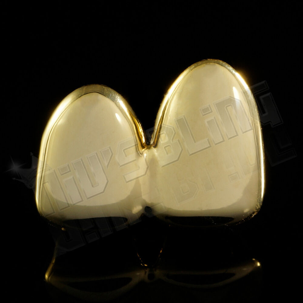 14k Gold Plated Double Top Two Tooth Cap Custom Grillz