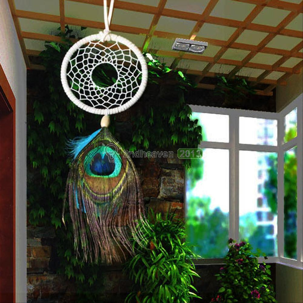 Dream Catcher Peacock Feather Home Wall Hanging Handmade