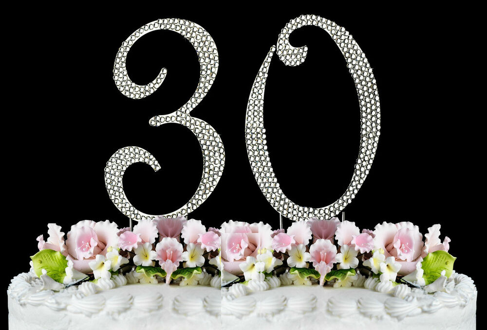 New Large Rhinestone Number 30 Cake Topper 30th Birthday