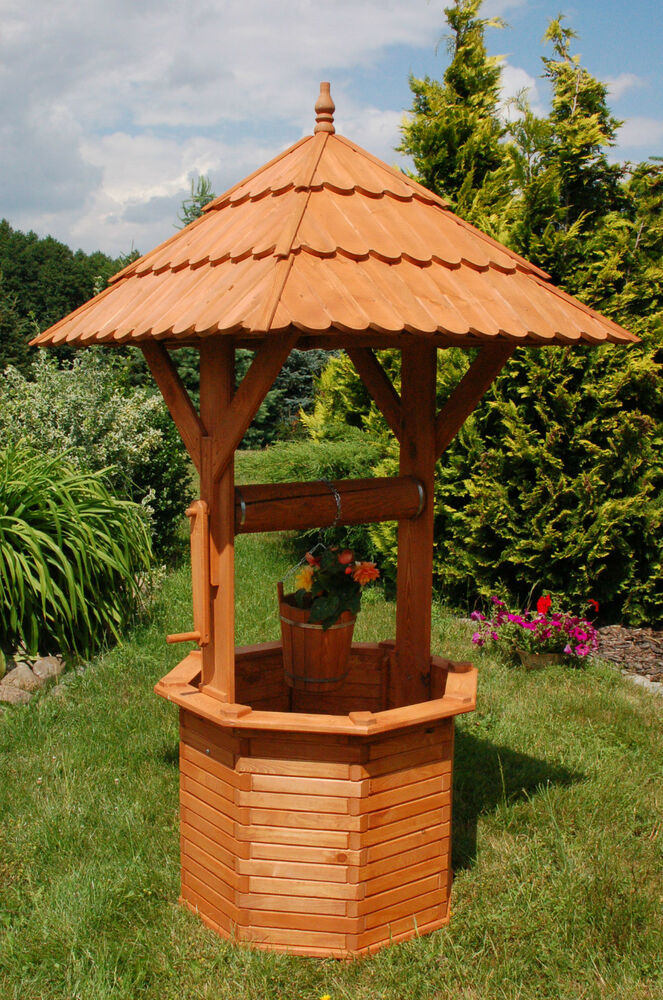 xxl zierbrunnen holzbrunnen brunnen holz garten 2 15m dach1 10 x 1 10 cm ebay. Black Bedroom Furniture Sets. Home Design Ideas
