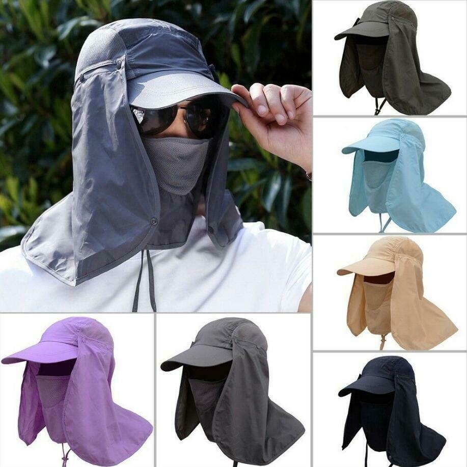 Adult sun uv protection cap hat neck face cover mask for for Fishing neck cover