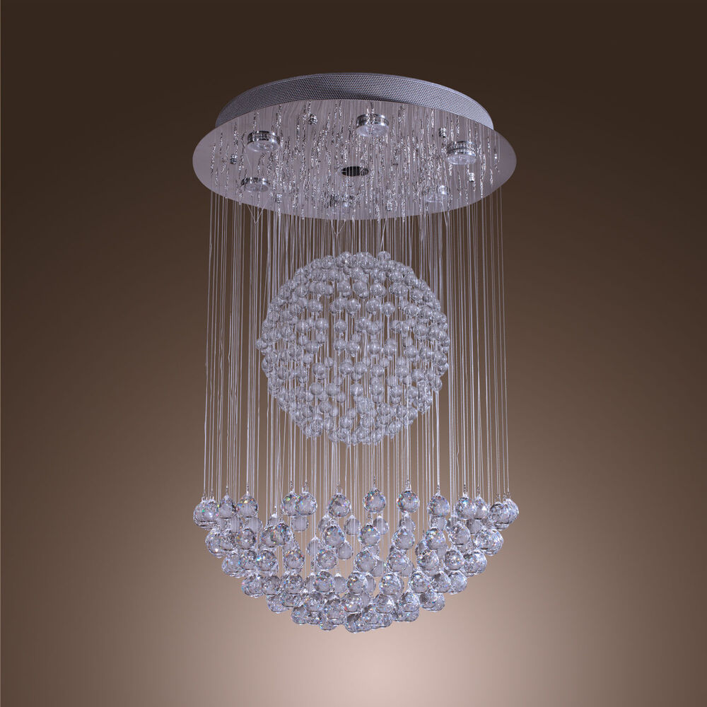 Modern sphere crystal chandelier ceiling light round for Contemporary chandeliers and pendants