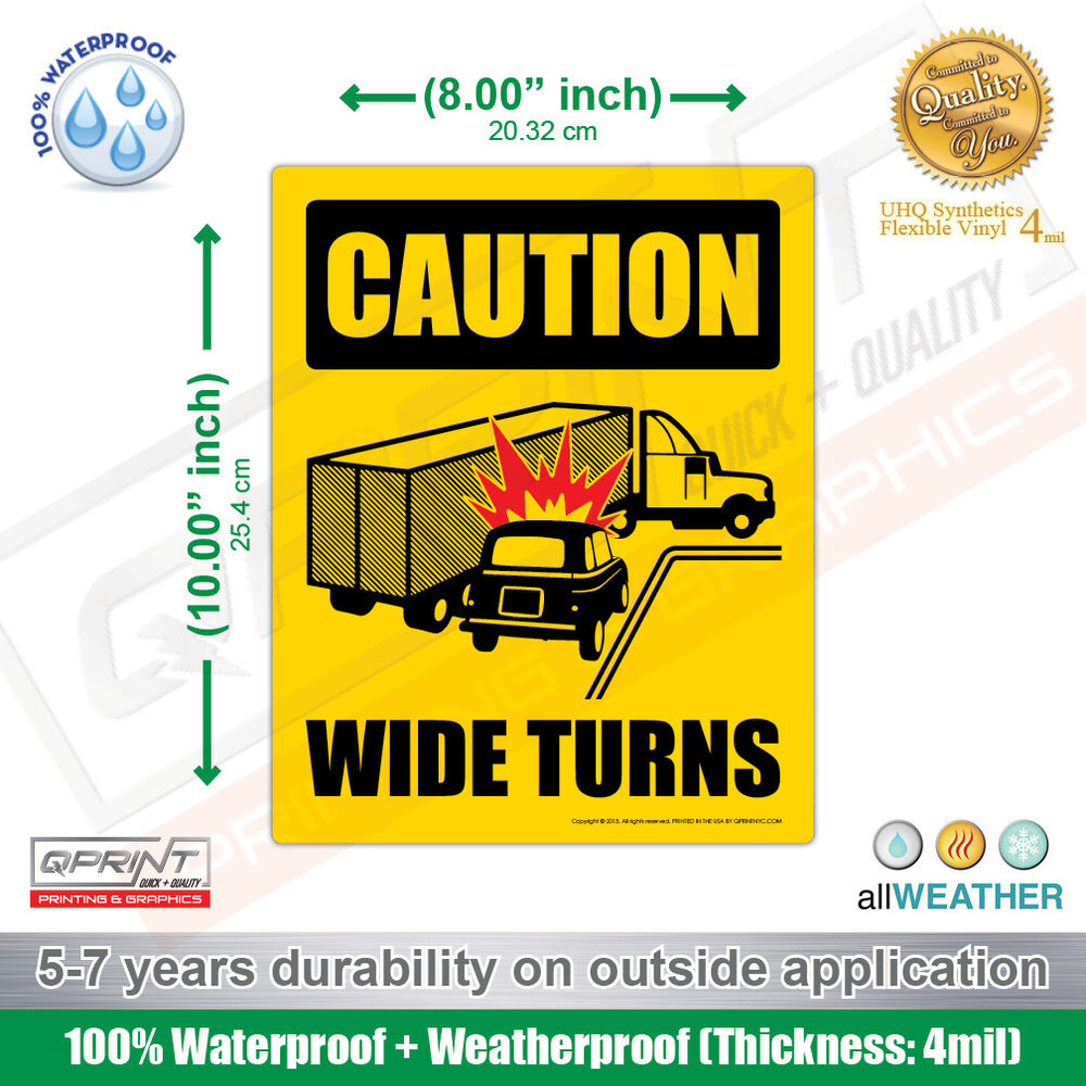 Ice Cream Truck For Sale >> Caution Wide Right Turns Sign Safety Decal Vinyl Sticker for Truck Lorry Trailer   eBay