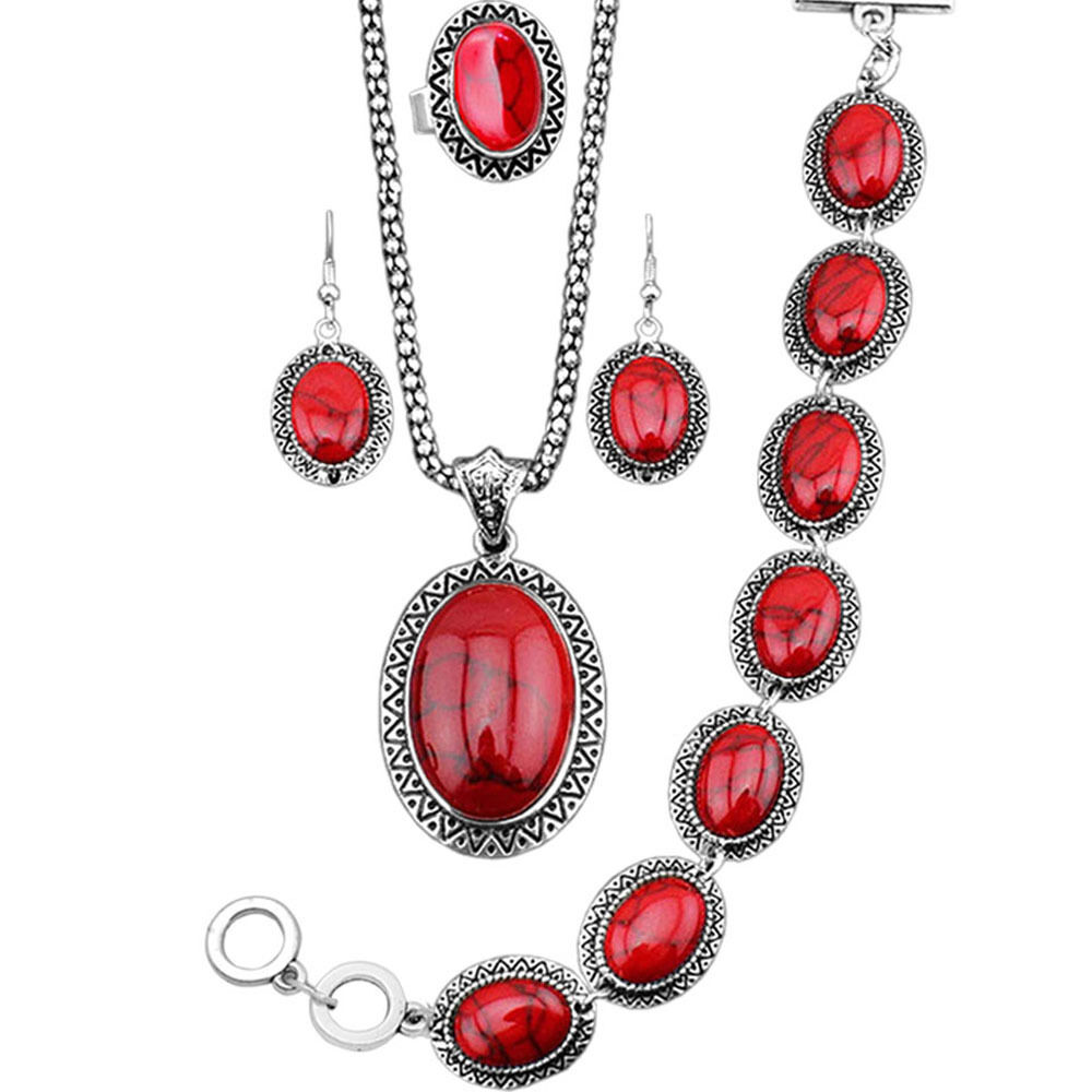 Red turquoise jewelry set sunflower necklace bracelet for Turquoise colored fashion jewelry