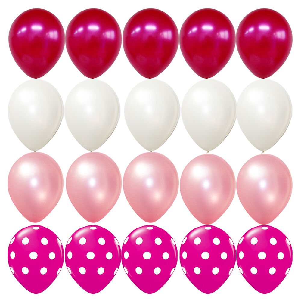 20x latex balloons pink polka dot white birthday party for Red and white polka dot decorations