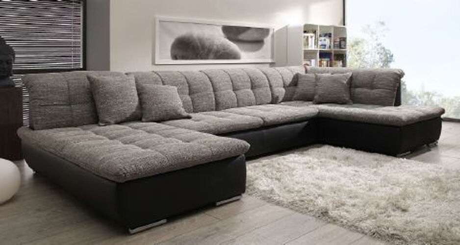 xxl format ecksofa in u form schwarz grau polsterecke sofa ebay. Black Bedroom Furniture Sets. Home Design Ideas