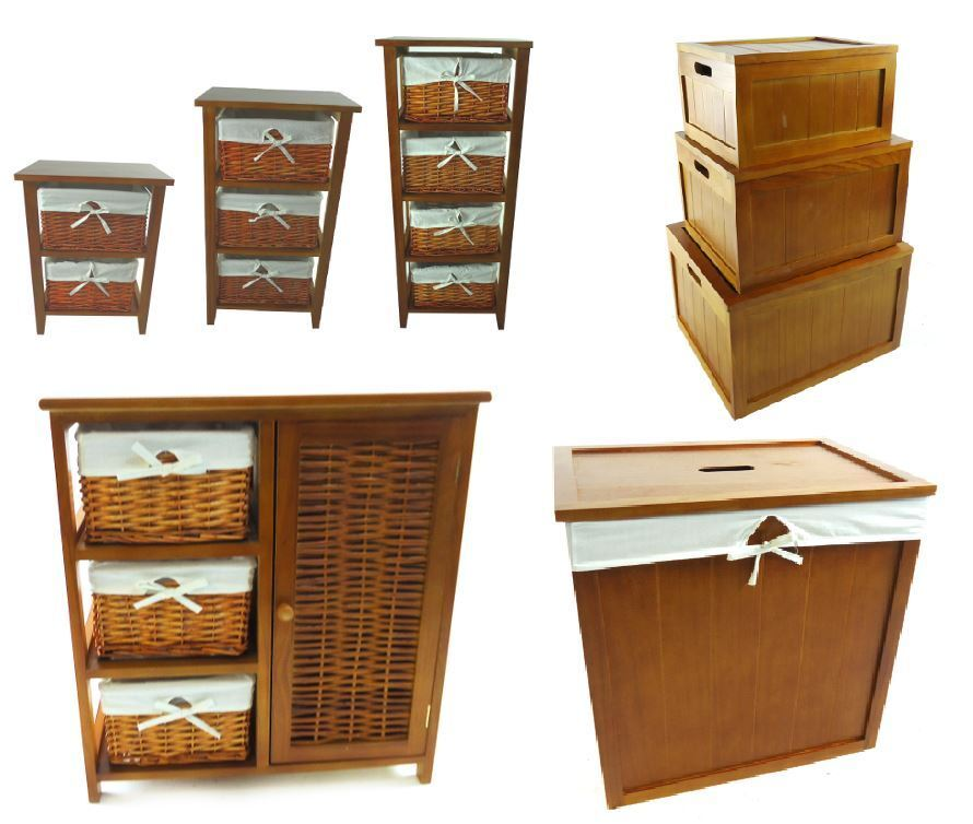 Pine wooden drawer cupboard cabinet laundry basket