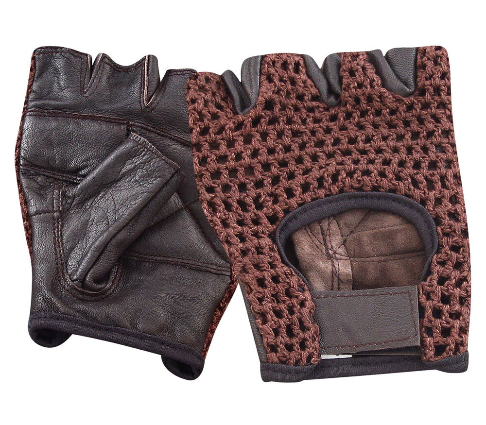 LEATHER FINGERLESS GLOVES BIKER DRIVING CYCLING WHEELCHAIR ...