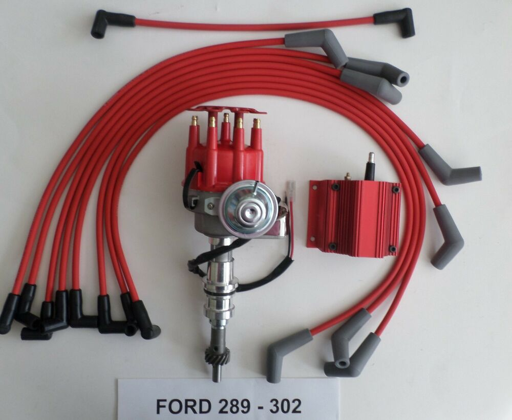 Small Block Ford 289 302 Red Hei Distributor Coil Spark How To Change Point Plug Wires Ebay