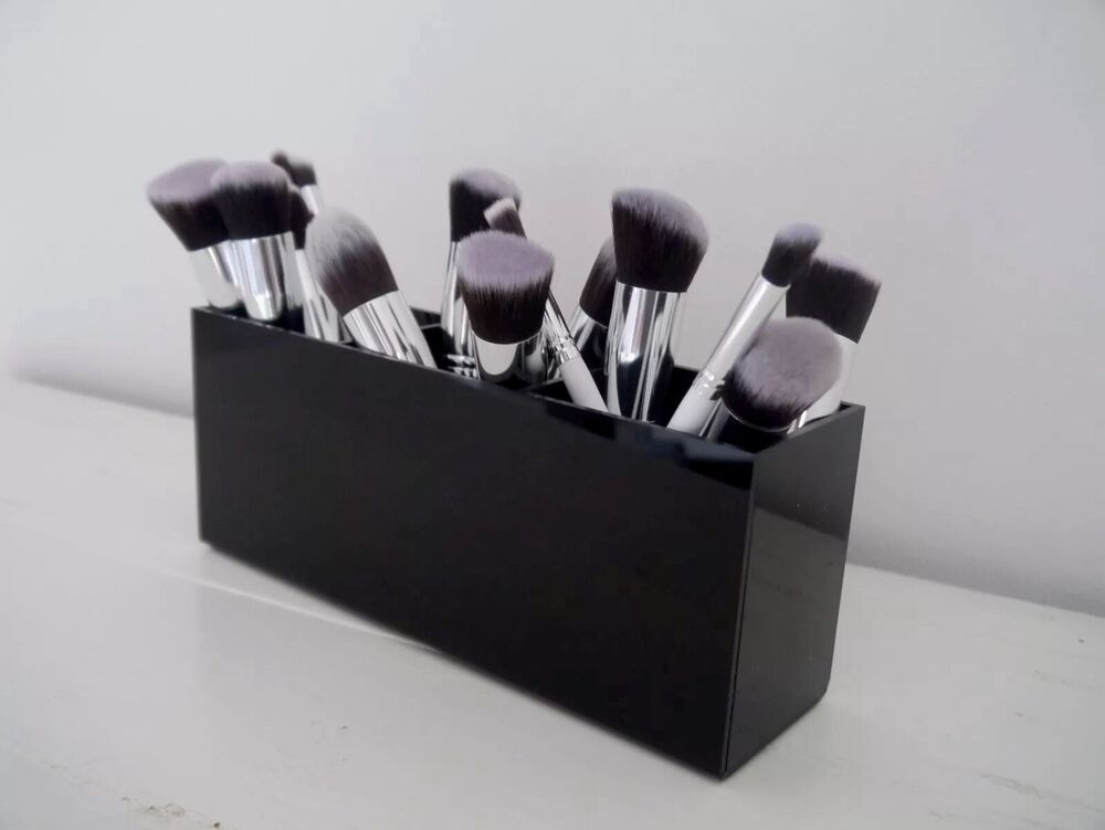 black acrylic makeup brush holder makeup storage makeup organiser ebay. Black Bedroom Furniture Sets. Home Design Ideas