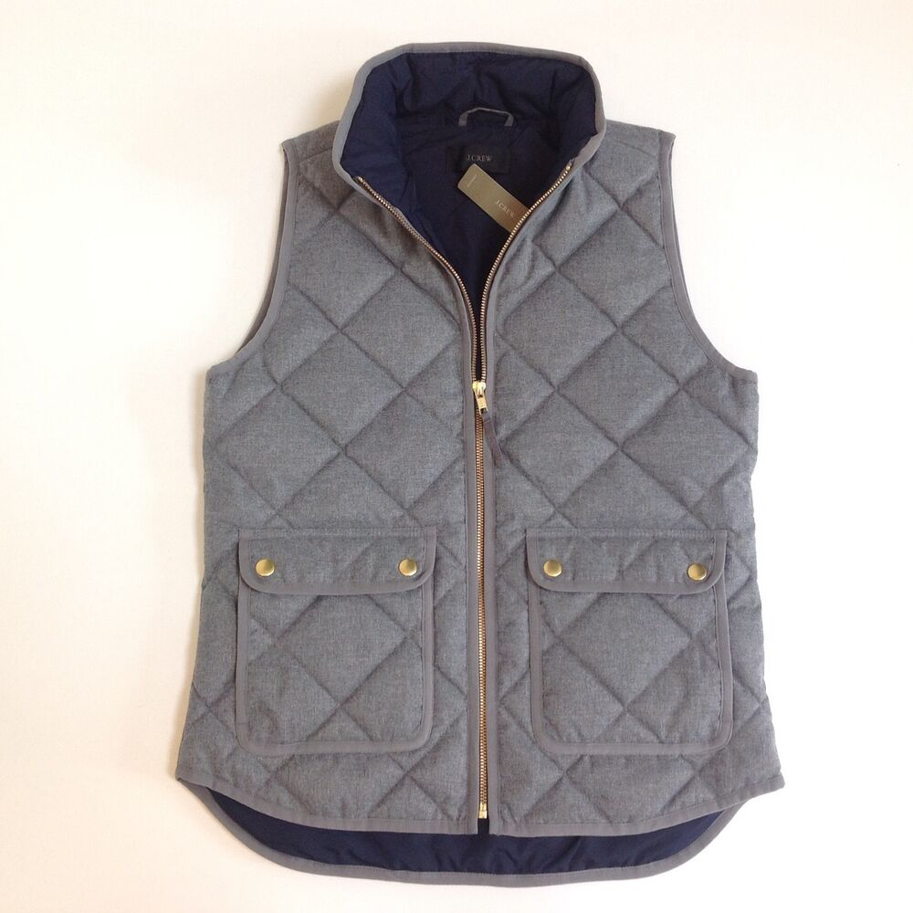 J crew excursion quilted vest in flannel nwt heather for Women s fishing vest
