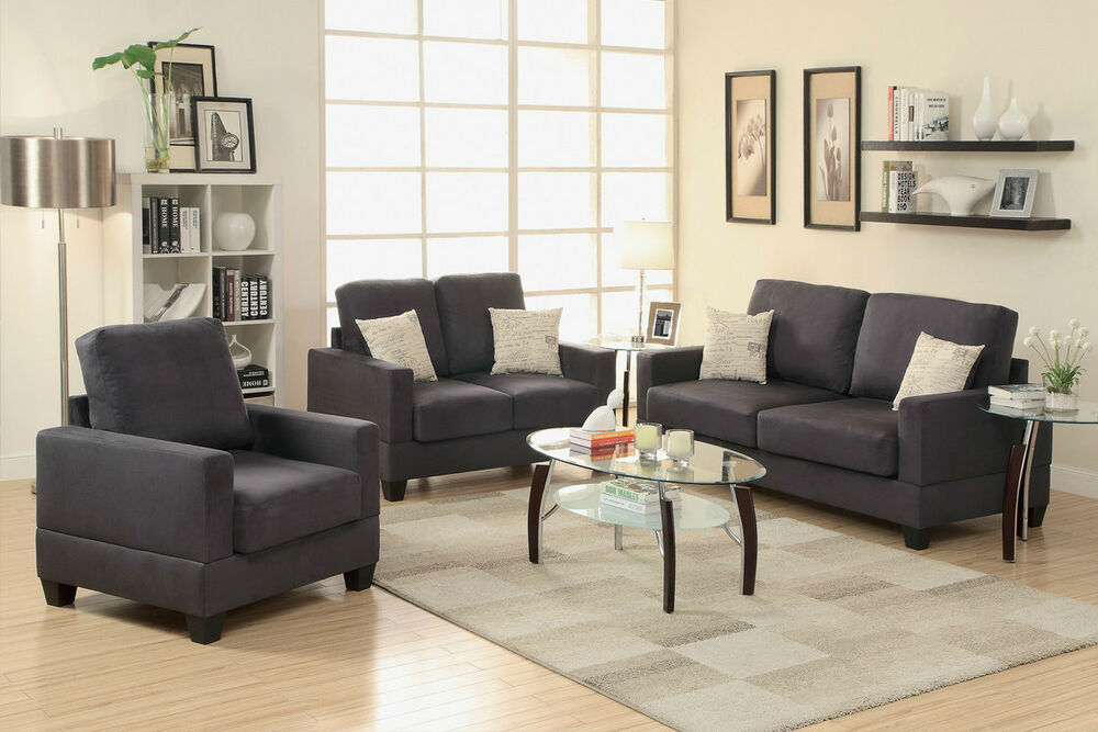 Microsuede 3pc modern sofa set sofa loveseat chair living room furniture ebony ebay for Microsuede living room furniture