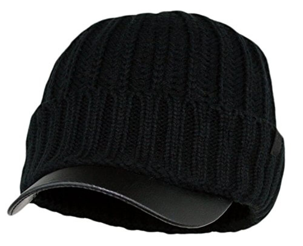 6fad4c48c32 Men s Winter Visor Beanie Knitted Hat With Faux Leather