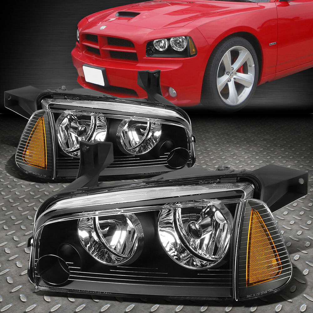 for 2006 2010 dodge charger pair black houisng headlight. Black Bedroom Furniture Sets. Home Design Ideas