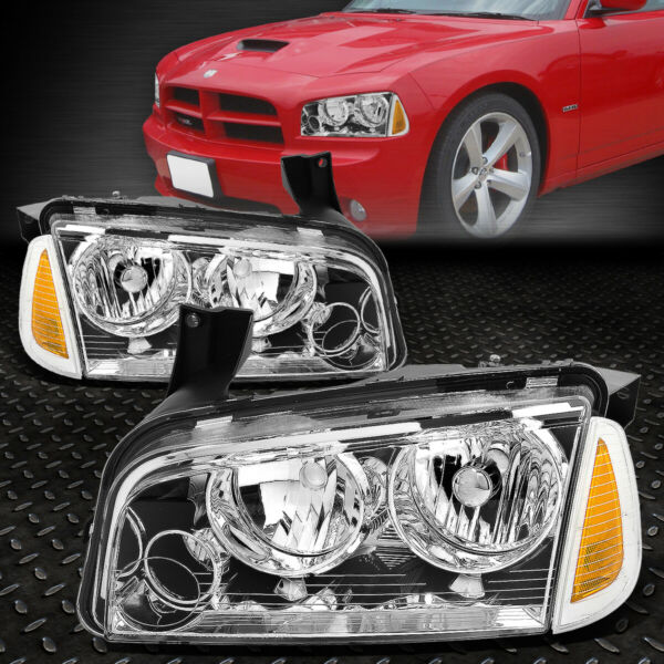 FOR 2006-2010 DODGE CHARGER PAIR CHROME HOUISNG HEADLIGHT+AMBER TURN SIGNAL LAMP