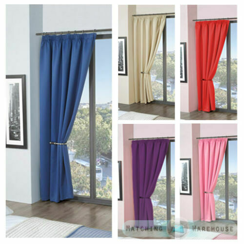 Childrens Plain Colour Dyed Blackout Thermal Curtains Tape