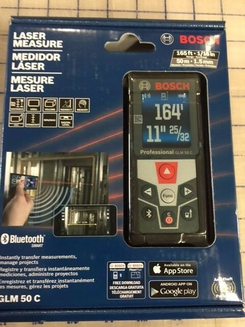 bosch glm 50 c bluetooth enabled laser distance measurer with color backlit d ebay. Black Bedroom Furniture Sets. Home Design Ideas