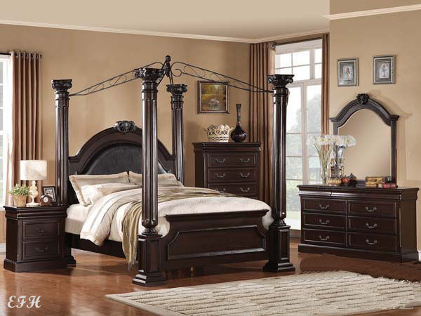 New elegant 4pc four post pillar canopy cherry finish wood - Elegant canopy bedroom sets ...