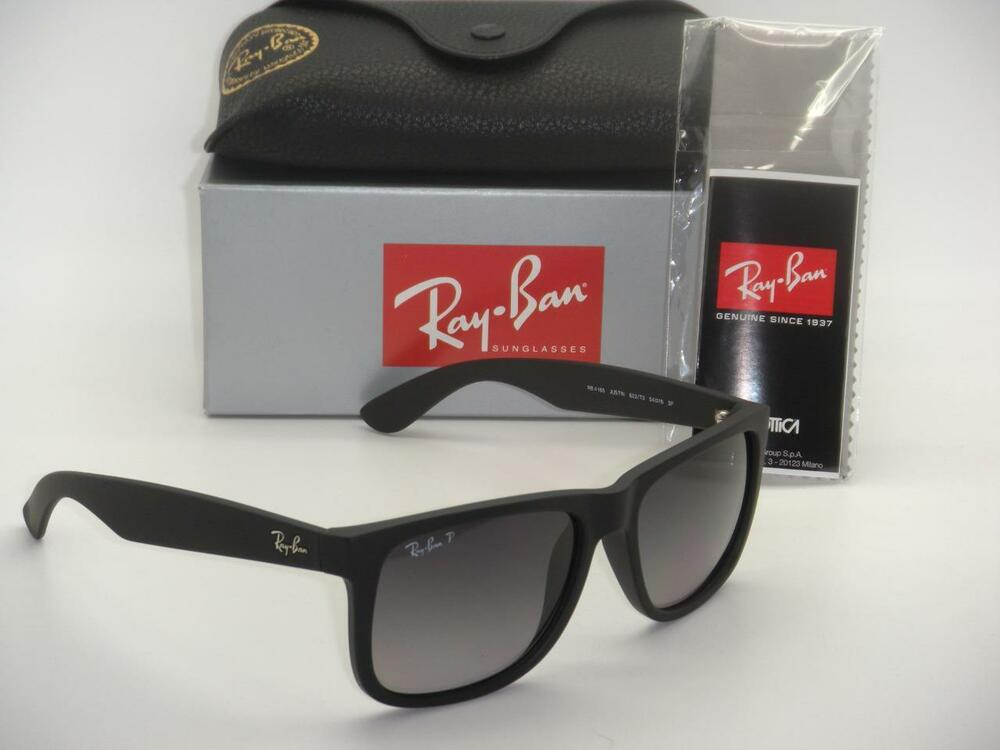 ray ban justin rb 4165 622 t3 55mm rubber black grey gradient polarized ebay. Black Bedroom Furniture Sets. Home Design Ideas